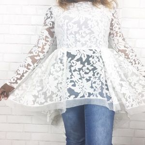 White Lace Long Tail Top. Size M